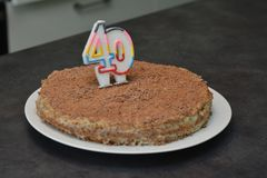 Birthday Chocolate Cake with Candle as a Number stock photography