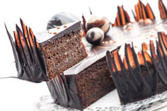 Birthday chocolate cake with chocolate ball decoration, piece of cream cake, patisserie, photography for shop, sweet dessert Royalty Free Stock Image