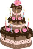 Birthday chocolate cake. An illustration of a three-tiered chocolate birthday cake with chocolate frosting, candles, cream flowers and colorful sprinkles Stock Photo