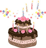 Birthday chocolate cake. An illustration of a two-tiered chocolate birthday cake with chocolate frosting, candles, cream rose flowers and colorful sprinkles Stock Photo
