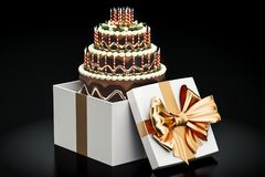 Birthday chocolate cake inside gift box, 3D rendering. On black background Royalty Free Stock Photography