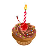 Birthday chocolate cupcake with cream, cherry, sprinkles and candle. Vector illustration. Stock Photos