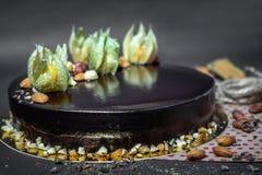 Birthday chocolate mousse cake Stock Image