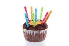 Birthday chocolate muffin Royalty Free Stock Photos