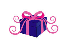 Birthday or Christmas present. Box decorated with bowknot as birthday present Stock Image