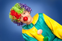 Birthday clown in full costume Royalty Free Stock Photos