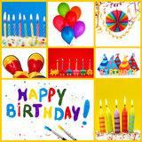 Birthday collage. With colorful decoration royalty free stock photos