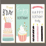 Birthday collection for greeting card with cake,candle and cupca Royalty Free Stock Images