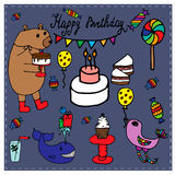 Birthday collection with hand-drawn elements Royalty Free Stock Photos
