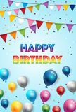 Birthday Color Balloons and Party Flags Background. Vector Stock Images