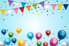 Birthday Color Balloons and Party Flags Background. Vector Royalty Free Stock Photography