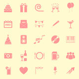 Birthday color icons on yellow backgound Stock Photo