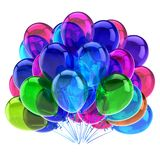 Birthday colorful balloons party decoration multicolored. Purple green blue. 3d rendering illustration. isolated on white background Stock Images