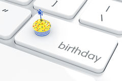 Birthday computer keyboard with cake on enter button Stock Photo