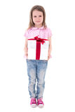 Birthday concept - cute little girl with gift box isolated on wh Royalty Free Stock Photography