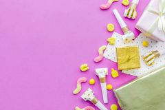 Birthday concept with gifts, greeting cards and party whistles o Stock Photography