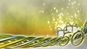 Birthday concept with gifts and sparks. Fiftieth birthday Stock Photography