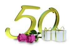 Birthday concept with pink roses. And gifts - fiftieth birthday Stock Photography