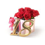 Birthday concept with red roses in gift isolated on white background. eighteenth. 18th.3D render. Birthday concept with red roses in gift isolated on white Royalty Free Stock Photos