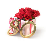 Birthday concept with red roses in gift isolated on white background. eightieth. 80th. 3D render Stock Photo