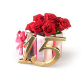 Birthday concept with red roses in gift isolated on white background. fifteenth. Birthday concept with red roses in gift isolated on white background. 3D render Royalty Free Stock Photo