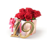 Birthday concept with red roses in gift isolated on white background. nineteenth. 19th. 3D render. Birthday concept with red roses in gift isolated on white Royalty Free Stock Images