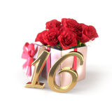 Birthday concept with red roses in gift isolated on white background. sixteenth. Birthday concept with red roses in gift isolated on white background. 3D render vector illustration