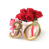 Birthday concept with red roses in gift isolated on white background. thirtieth. 30th. 3D render Royalty Free Stock Photography