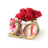 Birthday concept with red roses in gift isolated on white background. twentieth. 20th. 3D render. Birthday concept with red roses in gift isolated on white Royalty Free Stock Images