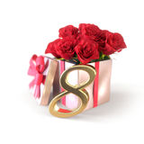 Birthday concept with red roses in gift  on white background. eighth. 8th. 3D render Royalty Free Stock Photography