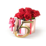 Birthday concept with red roses in gift  on white background. fifth. 5th. 3D render Stock Images