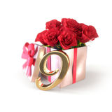 Birthday concept with red roses in gift  on white background. nineth. 9th. 3D render. Birthday concept with red roses in gift  on white background. 3D render Royalty Free Stock Image