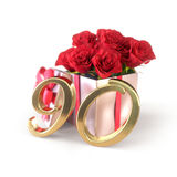 Birthday concept with red roses in gift  on white background. ninetieth. 80th. 3D render Stock Images