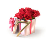 Birthday concept with red roses in gift  on white background. seventh. 7th. 3D render. Birthday concept with red roses in gift  on white background. 3D render Royalty Free Stock Image