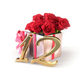 Birthday concept with red roses in gift  on white background. twelfth. 12th. 3D render. Birthday concept with red roses in gift  on white background. 3D render Stock Image