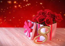 Birthday concept with red roses in gift on wooden desk. eighth. 8th. 3D render Stock Photography