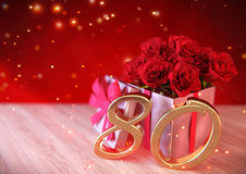 Birthday concept with red roses in gift on wooden desk. eightieth. 80th. 3D render Royalty Free Stock Photo