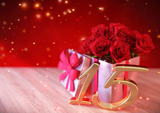 Birthday concept with red roses in gift on wooden desk. fifteenth. 15th. 3D render. Birthday concept with red roses in gift on wooden desk. 3D render - fifteenth Stock Photo