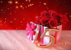 Birthday concept with red roses in gift on wooden desk. fifth. 5th. 3D render Royalty Free Stock Photos