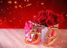 Birthday concept with red roses in gift on wooden desk. fifty-nineth. 59th. 3D render Stock Image