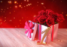 Birthday concept with red roses in gift on wooden desk. first .1st. 3D render. Birthday concept with red roses in gift on wooden desk. 3D render - first birthday Royalty Free Stock Images