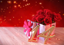 Birthday concept with red roses in gift on wooden desk. fourteenth. 14th. 3D render. Birthday concept with red roses in gift on wooden desk. 3D render royalty free illustration