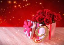 Birthday concept with red roses in gift on wooden desk. nineth. 9th. 3D render Stock Image