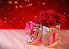 Birthday concept with red roses in gift on wooden desk. ninetieth. 90th. 3D render stock illustration