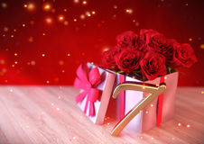 Birthday concept with red roses in gift on wooden desk. seventh. 7th. 3D render. Birthday concept with red roses in gift on wooden desk. 3D render - seventh Stock Image