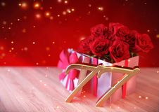 Birthday concept with red roses in gift on wooden desk. seventy-seventh. 77th. 3D render Stock Photos