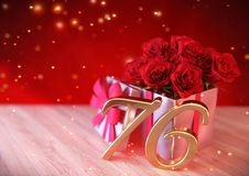 Birthday concept with red roses in gift on wooden desk. seventy-sixth. 76th. 3D render Stock Image