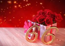 Birthday concept with red roses in gift on wooden desk. sixty-sixth. 66th. 3D render. Birthday concept with red roses in gift on wooden desk. 3D render - sixty Stock Photo