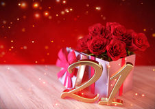 Birthday concept with red roses in the gift on wooden desk. twenty-first. 21st. 3D render. Birthday concept with red roses in the gift on wooden desk- twenty Royalty Free Stock Photos