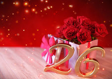 Birthday concept with red roses in the gift on wooden desk. twenty-sixth. 26th. 3D render Stock Images
